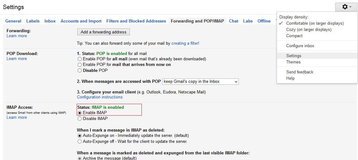 enable imap option